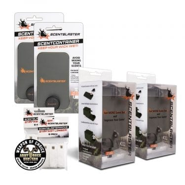 ScentBlaster Double Bundle, 2 ScentBlasters, 2 ScentBlasterWick 6-Packs, 2 ScentContainers, Weapon of Choice Logo, Army Buck Hunters