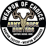 Weapon of Choice ArmyBuckHunters logo. Support. Defend. Hunt.