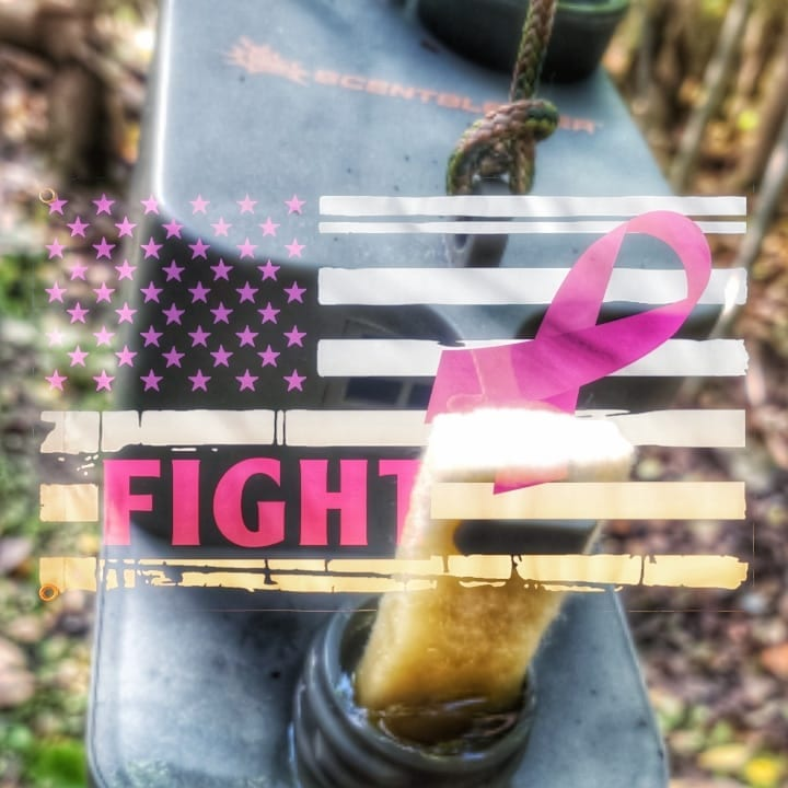 American Flag with pink stars, breast cancer awareness logo and the word FIGHT superimposed over a hanging ScentBlaster