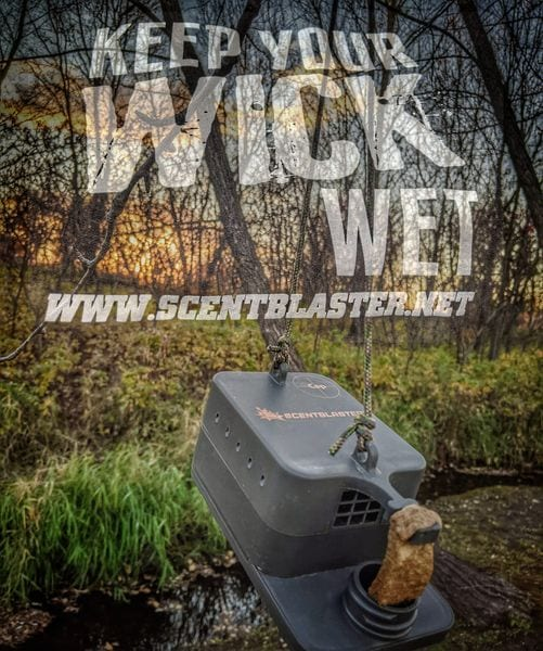 Keep Your Wick Wet with hanging ScentBlaster in the woods.